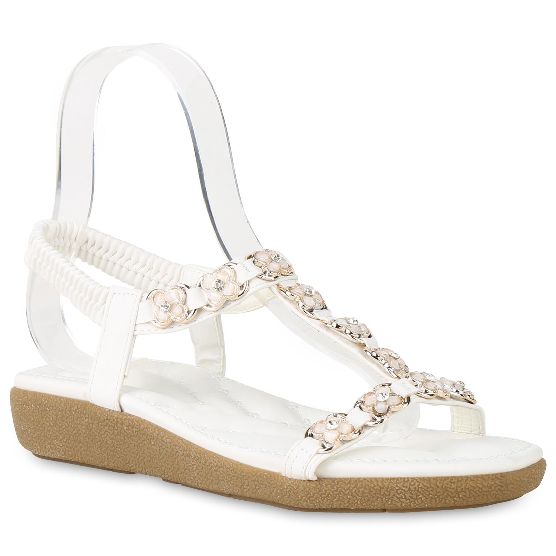Sandalen - Damen Sandaletten Keilsandaletten Weiß › stiefelparadies.de  - Onlineshop Stiefelparadies