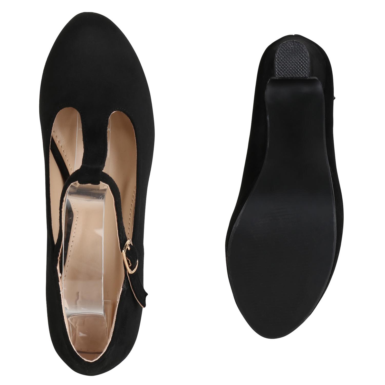 Damen Pumps Mary Janes T-Strap High Heels Elegante Party 821556 Schuhe