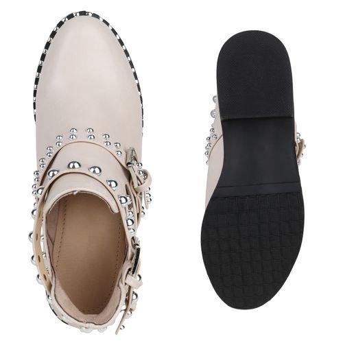 Damen Boots Stiefeletten Stiefeletten Creme Damen Ankle Ankle Sqw0fP7d