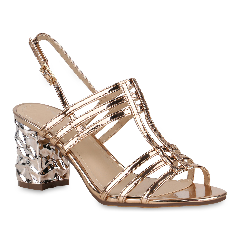 Damen Sandaletten Riemchensandaletten - Rose Gold