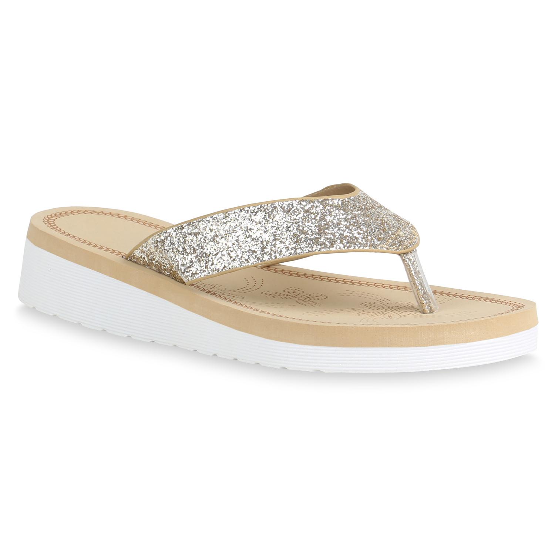 Damen Sandaletten Zehentrenner - Gold