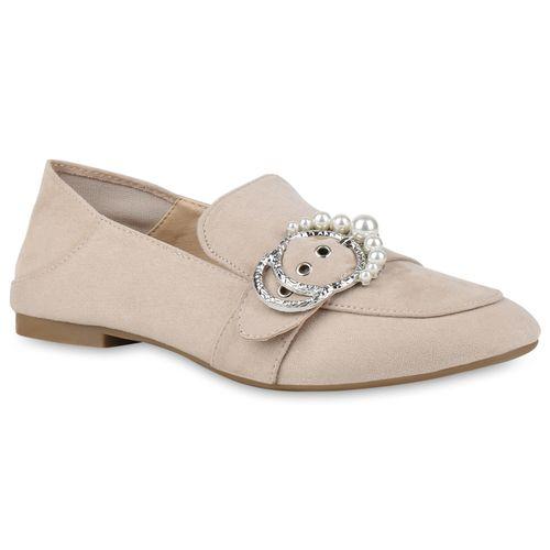 Slippers Damen Damen Slippers Loafers Creme qfT8O