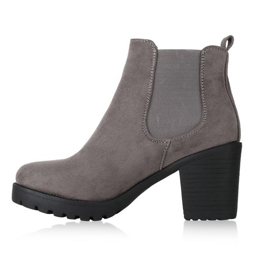 Hellgrau Boots Chelsea Stiefeletten Grau Damen wq8CSIO