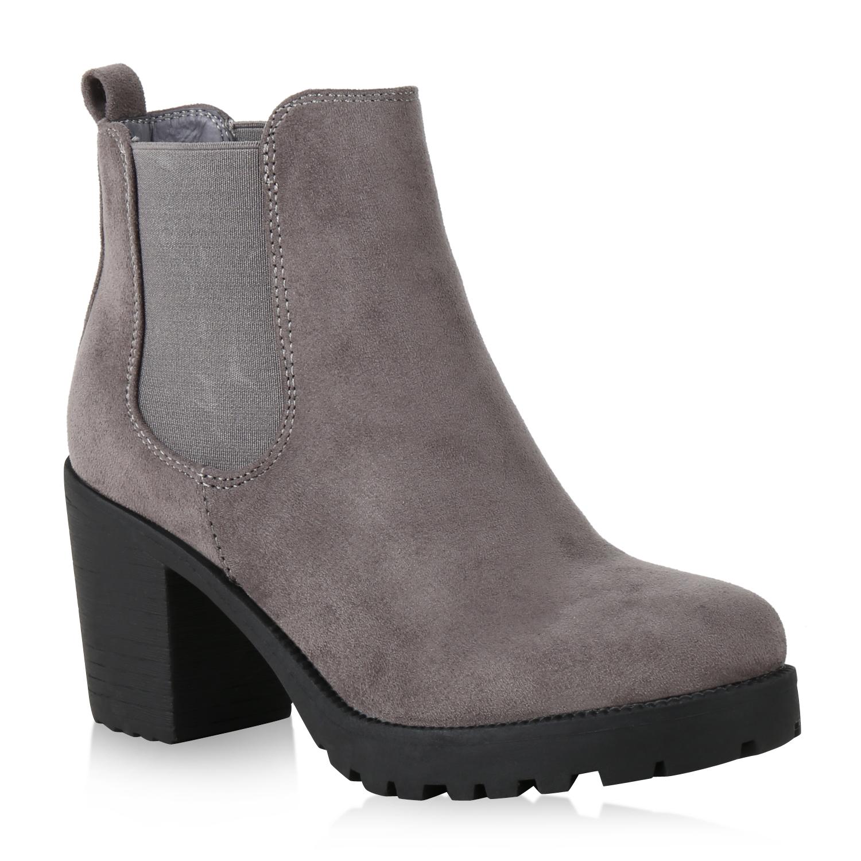 Damen Stiefeletten Chelsea Boots - Grau Hellgrau