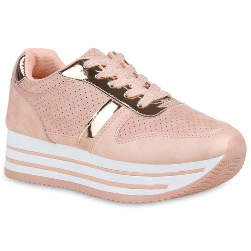 Damen Sneaker Rosa Damen Plateau Plateau 5xwnFg