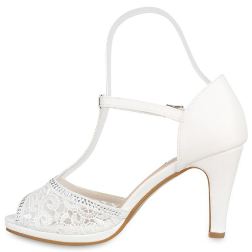 Damen Damen Sandaletten Weiß Riemchensandaletten Sandaletten wPvqgRzg
