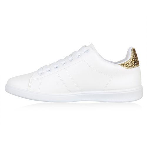Weiß Low Weiß Damen Sneaker Gold Low Damen Sneaker Gold d5w0vq
