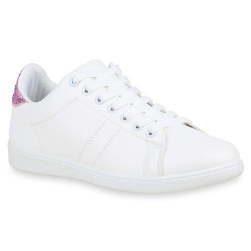Weiß Pink Low Low Weiß Weiß Sneaker Low Sneaker Damen Damen Pink Sneaker Damen gqpAf