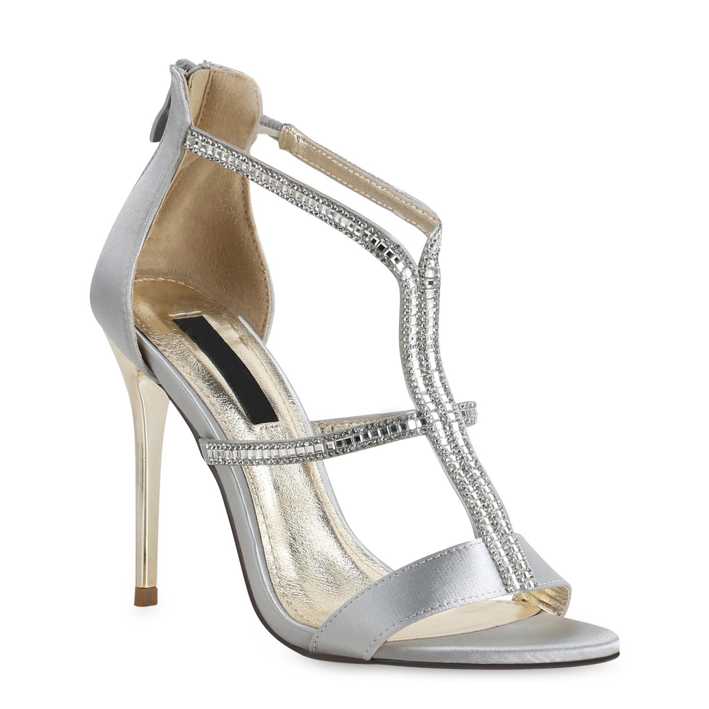 Highheels für Frauen - Damen Sandaletten High Heels Silber  - Onlineshop Stiefelparadies