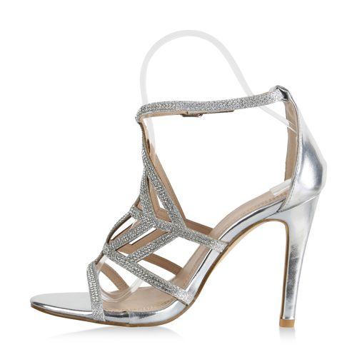 Sandaletten Heels Silber Heels Damen Sandaletten Damen High High YvqfBf