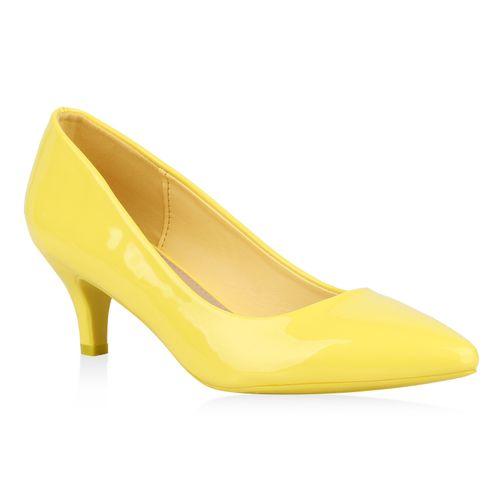 Damen Spitze Pumps - Gelb
