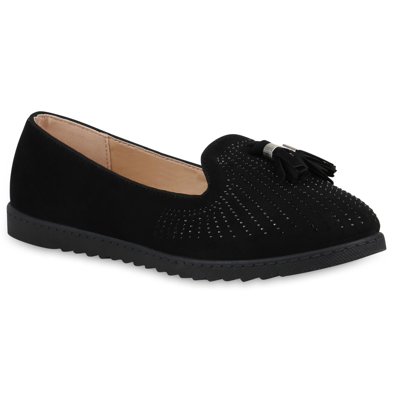 Damen Slippers Loafers - Schwarz