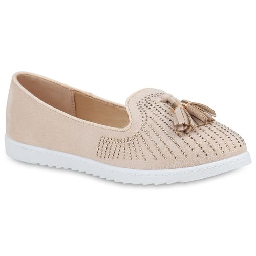 Creme Slippers Loafers Creme Loafers Damen Damen Damen Slippers qxES0