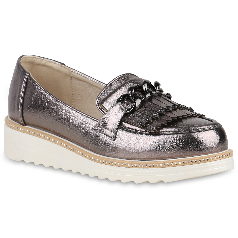 Damen Slippers Plateauschuhe - Grau Metallic