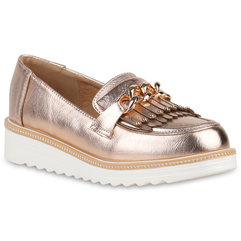 Damen Slippers Plateauschuhe - Rose Gold