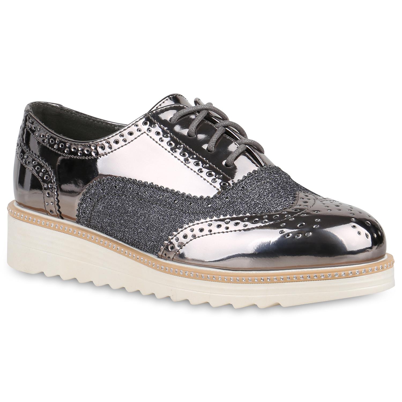 Halbschuhe für Frauen - Damen Halbschuhe Plateauschuhe Grau Metallic  - Onlineshop Stiefelparadies