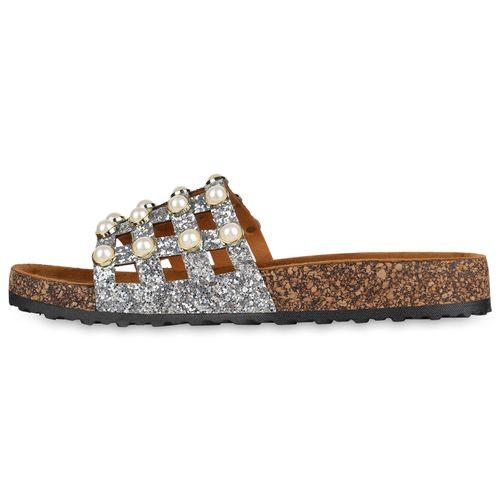Silber Sandalen Damen Damen Sandalen Pantoletten qwaIag14W