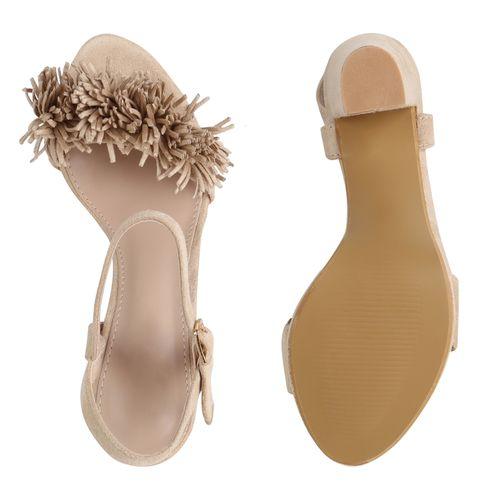 Damen Sandaletten Riemchensandaletten - Creme