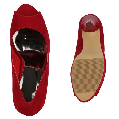 Damen Pumps Peeptoes - Rot