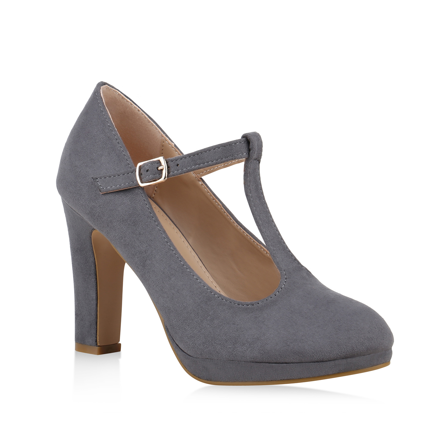 Damen Pumps Mary Janes - Grau