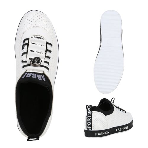 Damen Plateau Sneaker - Weiß