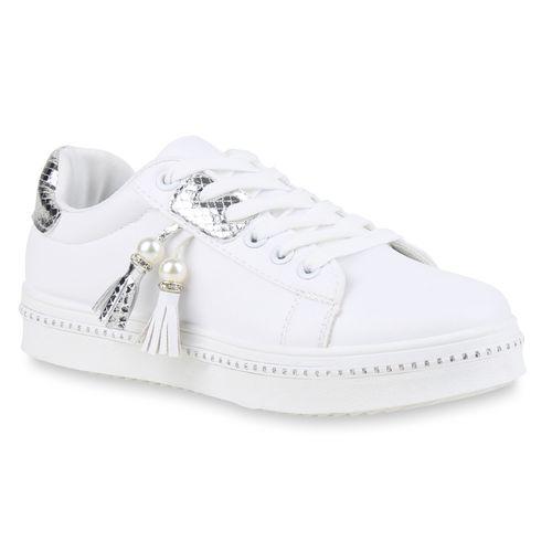 7074a1da835c54 Damen Sneaker in Weiß Silber (821919-2292) - stiefelparadies.de