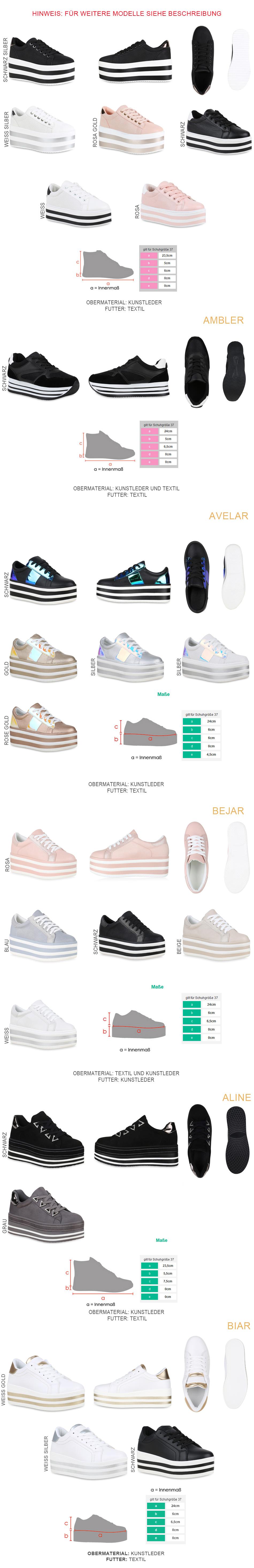 2458f02d0ba1ae Damen Plateau Sneaker Basic Leder-Optik Schuhe Schnürer 821938 New ...