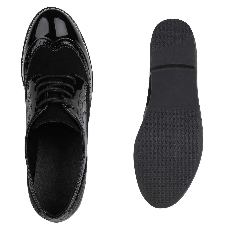 Damen Klassische Halbschuhe Brogues Lack Nieten Freizeit 822005 Schuhe