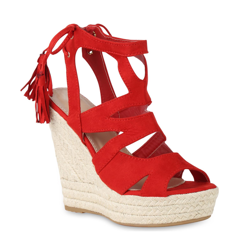 Damen Sandaletten Keilsandaletten - Rot