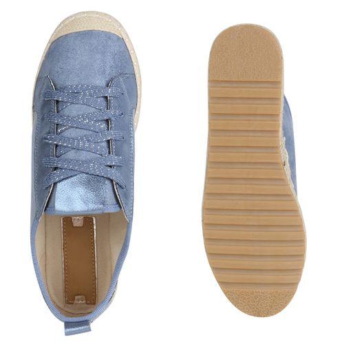 Damen Plateau Sneaker - Blau