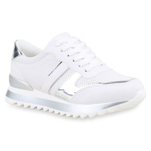 8f18fdb98e50 Damen Plateau Sneaker - Weiß