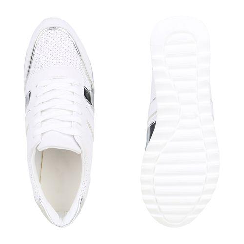 Weiß Damen Damen Damen Plateau Plateau Weiß Sneaker Sneaker gqPw6ga