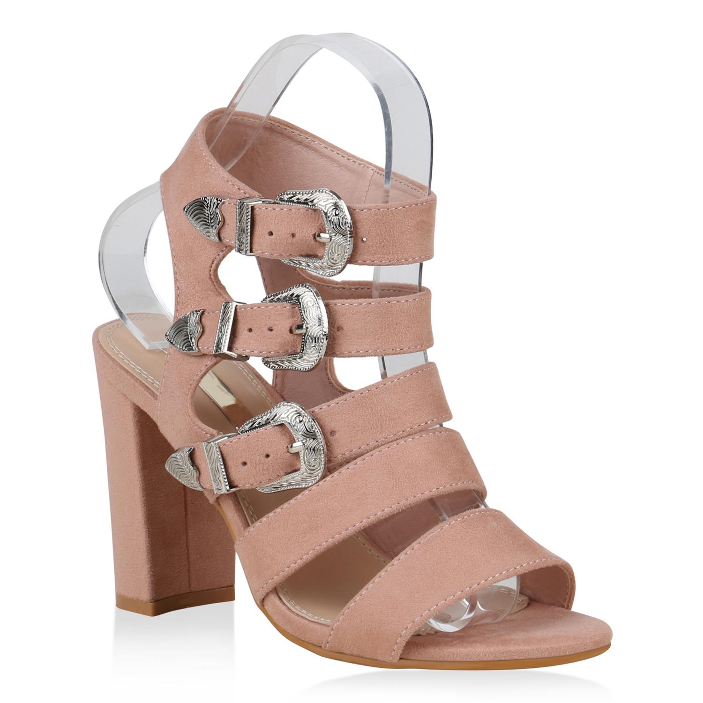 Damen Riemchensandaletten Schnallen Sandaletten High Heels 822266 Schuhe