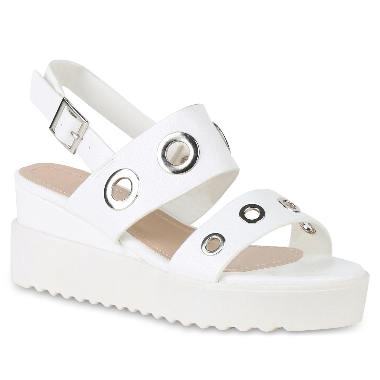 Damen Keilsandaletten Plateau Sandaletten Keilabsatz Schuhe Wedges 822294 Mode