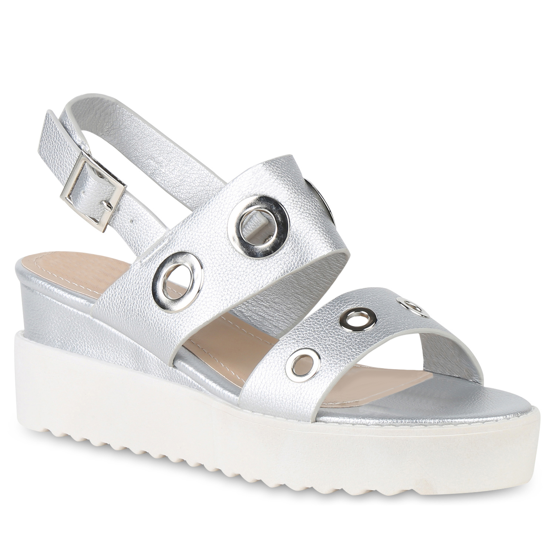 Sandalen - Damen Plateau Sandaletten Silber › stiefelparadies.de  - Onlineshop Stiefelparadies