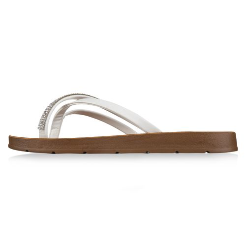 Damen Sandalen Zehentrenner - Weiß