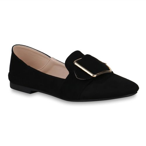 Damen Slippers Loafers - Schwarz