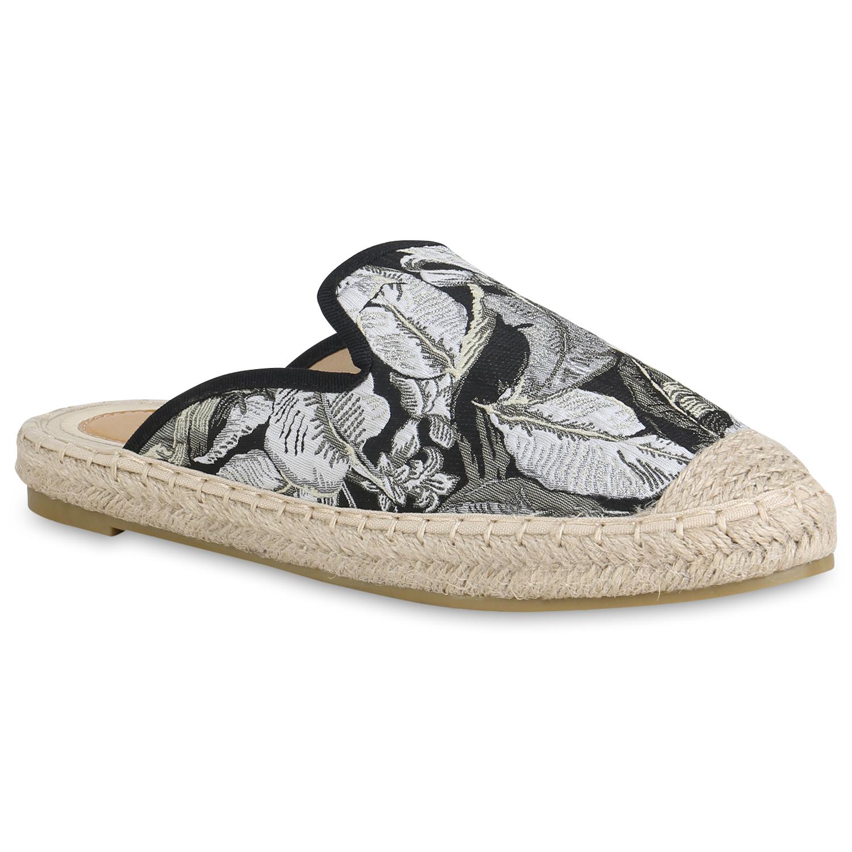 Damen Slippers Pantoletten - Schwarz Grau