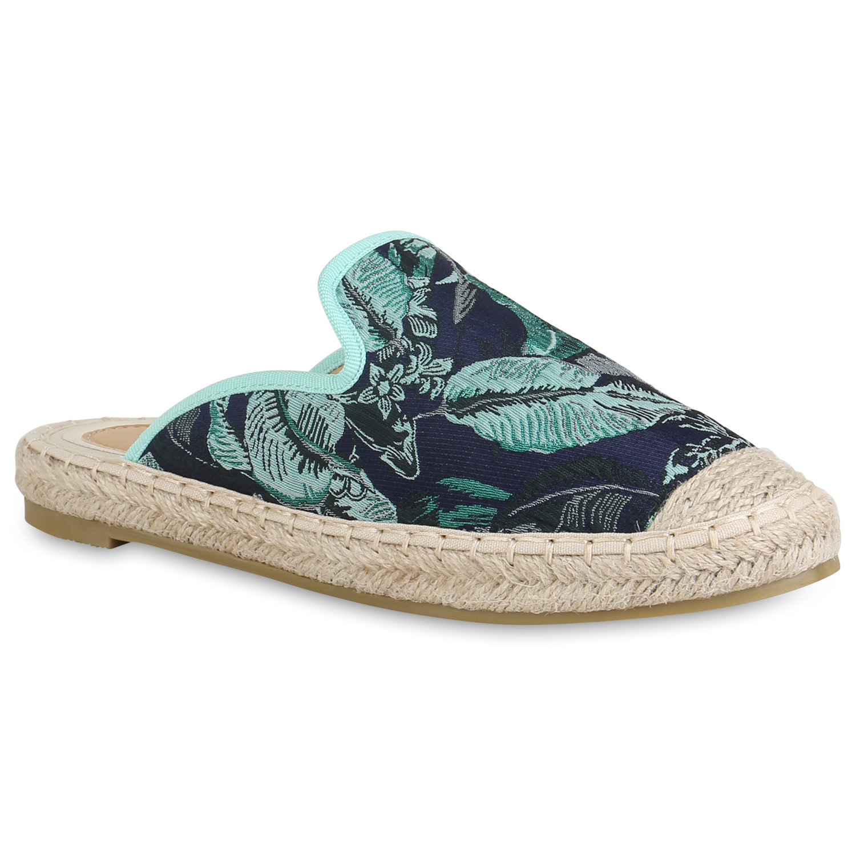 Damen Slippers Pantoletten - Grün Dunkelblau