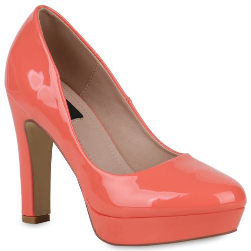 Damen Plateau Pumps - Coral