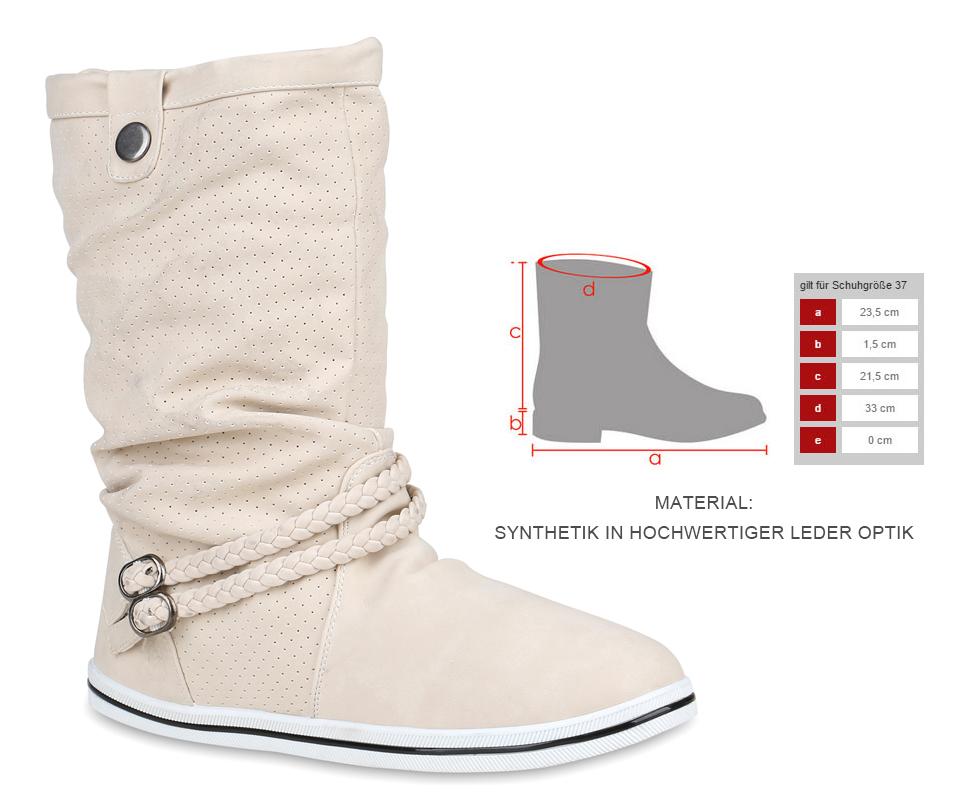 Details zu Bequeme Damen Stiefel Flache Schlupfstiefel 70991 Boots Trendy Neu