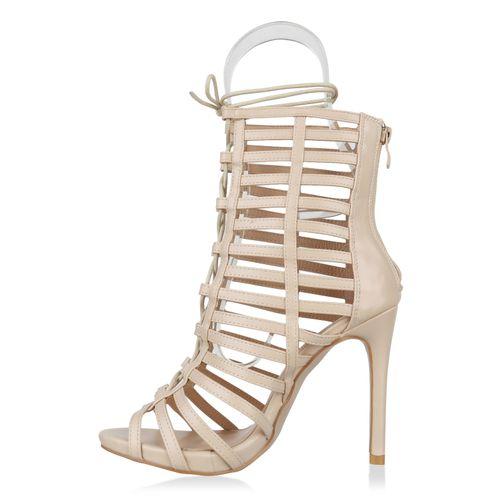 Sandaletten Sandaletten Sandaletten Damen Damen Schaftsandaletten Creme Creme Damen Schaftsandaletten qE5wHWU