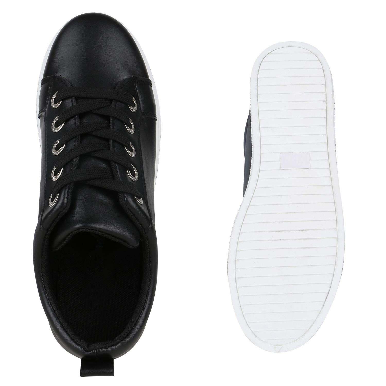 Damen Sneaker Turnschuhe Strass Freizeit Schuhe Schnürer 822519 Trendy Neu