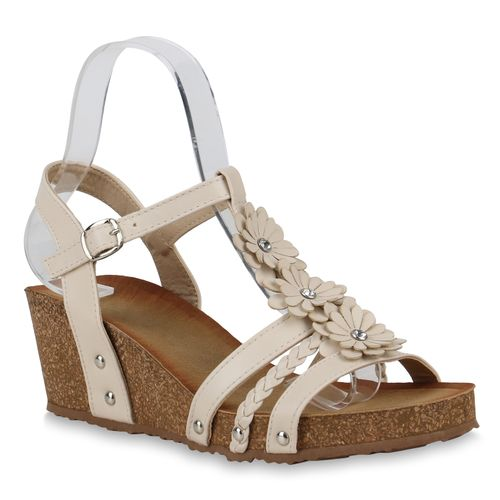 Creme Keilsandaletten Damen Sandaletten Sandaletten Keilsandaletten Creme Damen CUxzO