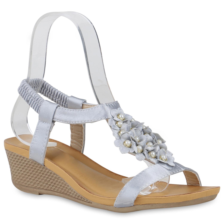 Sandalen - Damen Sandaletten Keilsandaletten Grau › stiefelparadies.de  - Onlineshop Stiefelparadies