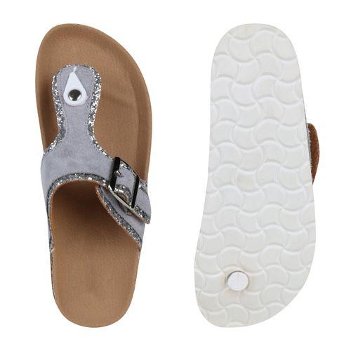 Sandalen Sandalen Damen Zehentrenner Zehentrenner Damen Grau HFqCxSw