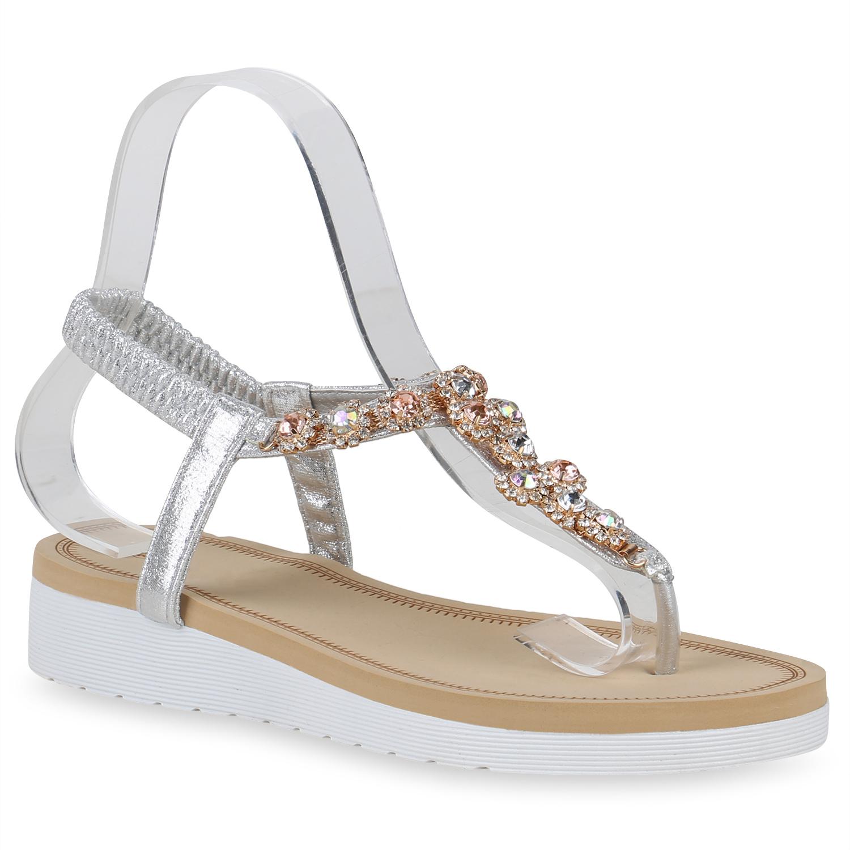 Sandalen - Damen Sandaletten Zehentrenner Silber › stiefelparadies.de  - Onlineshop Stiefelparadies
