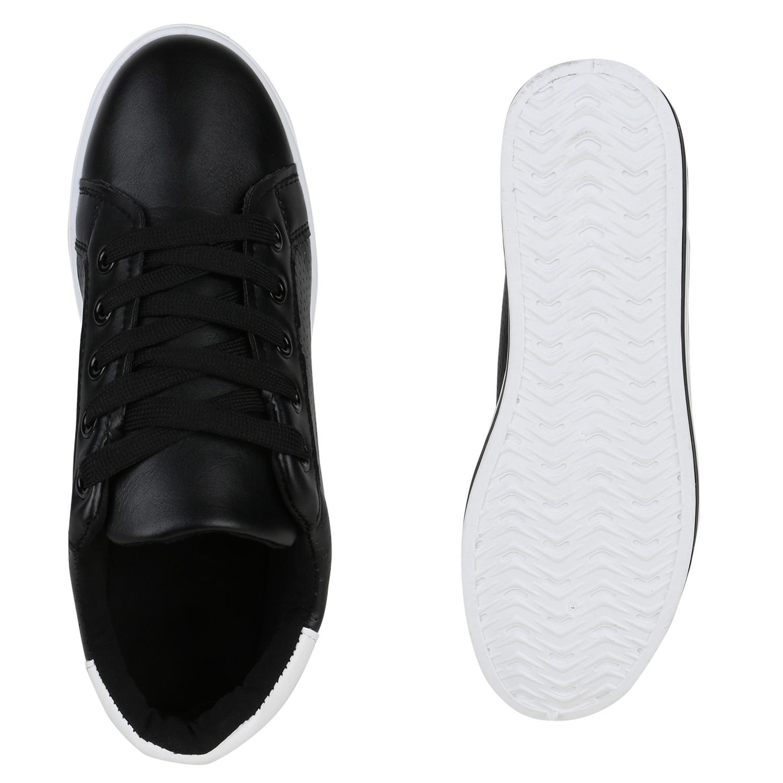 8f5e1ee3f3b444 Damen Plateau Sneaker Basic Leder-Optik Schnürer Turnschuhe 822658 ...