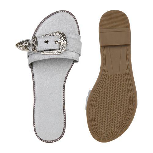 Damen Sandalen Grau Pantoletten Pantoletten Damen Grau Sandalen wqSn8Z0p8