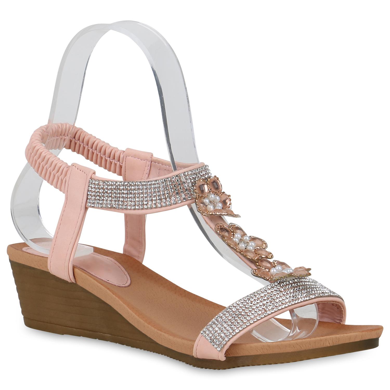Sandalen - Damen Sandaletten Keilsandaletten Rosa › stiefelparadies.de  - Onlineshop Stiefelparadies